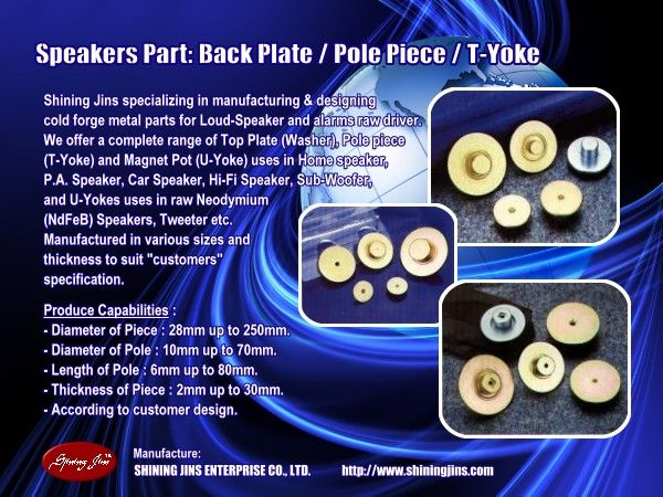 Speaker Parts Tweeter T-Yoke (Pole Piece) and Washer (Top Plate) CNC Machining Parts