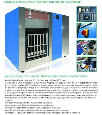 Hospital infectious waste sterilizer without internal shredder