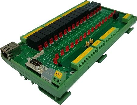 Web controlled 16-Ch. IP Ethernet Relay board, with16-Ch. Isolated Digital Input and Pluggable