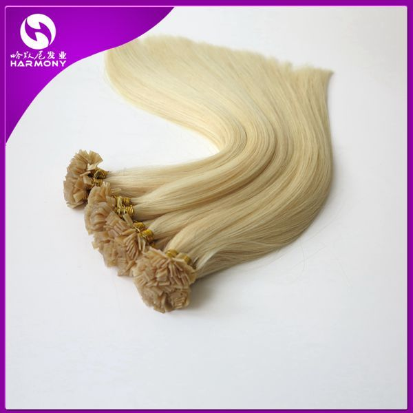STOCK 100% Human Hair Flat Tip Hair Extensions Straight Dyeable Brazilian Hair Remy Hair Customize Shedding Tangle Free 20inch