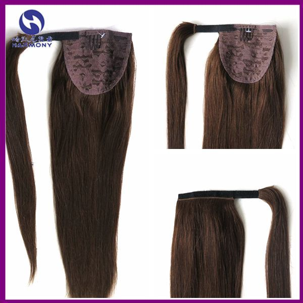 "Wholesale 100% Indian Remy Wrap Around Ponytail Extension Long Human Hair Pony tail Brown color 18"" -26"" 100g/set"