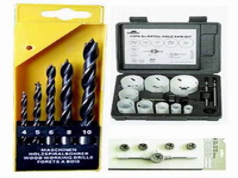 drill sets, drill kits, tap sets, hole saw kits, auger bit set