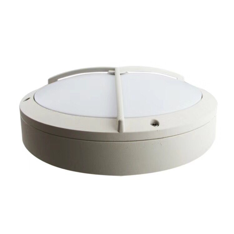 Round outdoor wall light with wire guard 20W white housing 3 years warranty