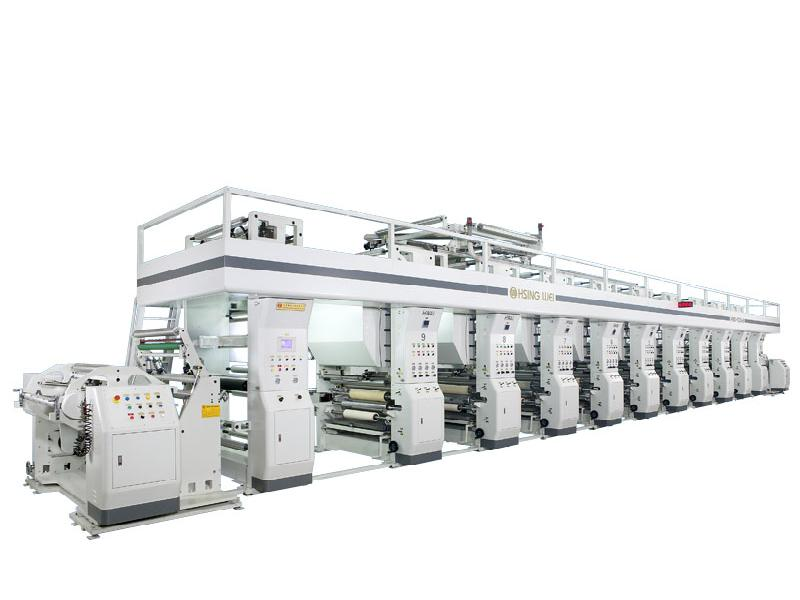 Gravure printing machine for flexible packaging material