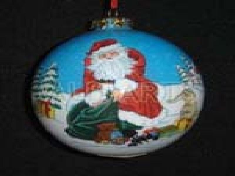 hand painted glass christmas ball