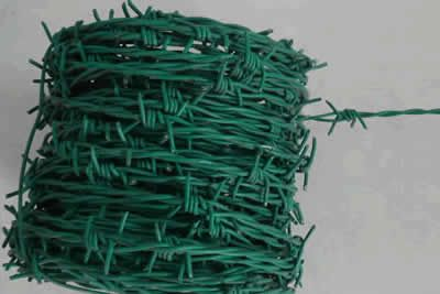 Galvanized and plastic coated barbed wire